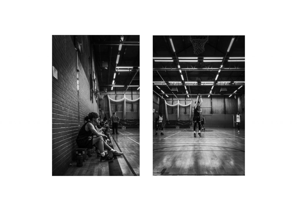 Aaron Dalton - Two monochrome photographs of the inside of a gym next to each other on a white background