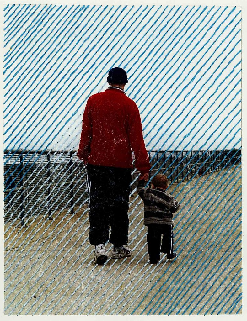 Frances Hurst - Photo of an adult walking and holding the hand of a young child with diagonal blue lines across the image