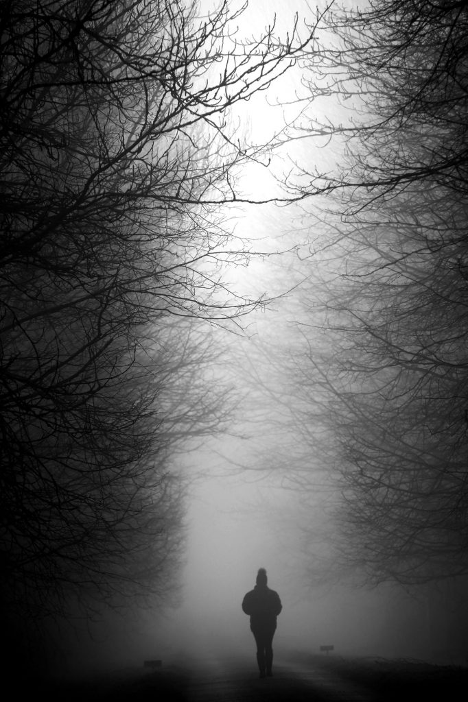 Francesca Stevens - Black and white image of a silhouette figure walking in the mist with tall trees all around