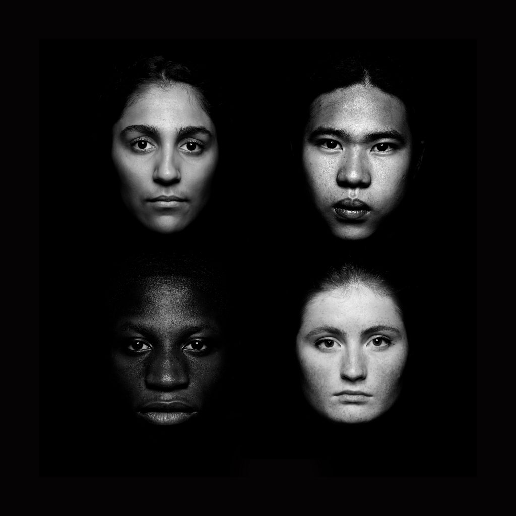 Ivana Peat - Black and white photo of four faces in a square against a black background