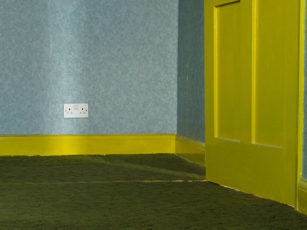 Jake Goddard - Corner of a room with a bright yellow door and skirting board, green floor and pale blue wall