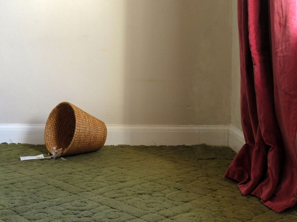 Jake Goddard - Corner of a room with a beige wall, red curtain and green floor with a tipped over flowerpot on it